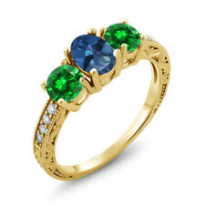 2.60 Ct Mystic Topaz Simulated Emerald 18K Yellow Gold Plated Silver Ring