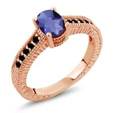 0.98 Ct Checkerboard Blue Iolite and Black Diamond 18K Rose Gold Engagement Ring