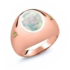 4.10 Ct Cabochon White Opal Green Peridot 18K Rose Gold Plated Silver Men's Ring