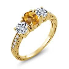 1.82 Ct Oval Checkerboard Citrine White Topaz 18K Yellow Gold Plated Silver Ring