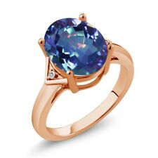 4.02 Ct Mystic Quartz White Sapphire 18K Rose Gold Plated Silver Ring
