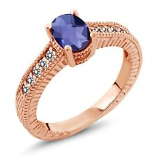 0.98 Ct Checkerboard Blue Iolite and White Diamond 18K Rose Gold Engagement Ring