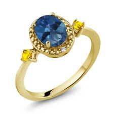 1.78 Ct Mystic Topaz Yellow Sapphire 18K Yellow Gold Plated Silver Ring