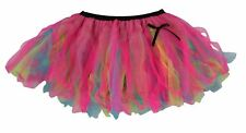 Ladies Flo Blue Yellow & Cerise Pink Festival Cyber Tutu Skirt Rave Fancy Dress