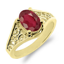 1.12 Ct Oval African Red Ruby 925 Yellow Gold Plated Silver Ring