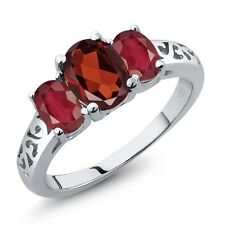 2.50 Ct Oval Red Garnet African Red Ruby 14K White Gold Ring