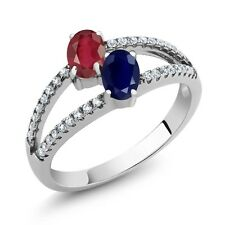 1.61 Ct Oval African Red Ruby Blue Sapphire Two Stone 925 Sterling Silver Ring