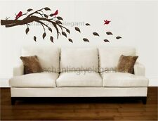 Tree Branch With Leaves and Birds Vinyl Decal Wall Stickers Mural Art Decor