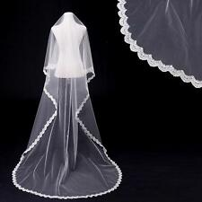 New 1 Tier White Ivory Cathedral 3M Long Bridal Wedding Bride Veil no comb AV043