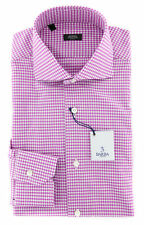 New $325 Barba Napoli Purple Check Shirt - Extra Slim - (50U13T)
