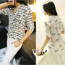 Women's Casual 3/4 Sleeve Chiffon Shirt Letters Print Pattern Blouse Tops