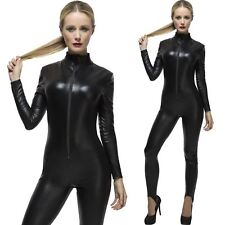 Fever Miss WHIPLASH Black Catsuit Haloween Catwoman Fancy Dress with FREE WHIP
