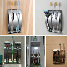 Stainless Steel Wall Mounted Toothbrush Holder Bathroom Rack Stand Sticking