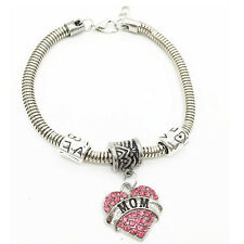 Fashion Family Gifts Love Heart Crystal Charm Pendant Beads Bangle Bracelet HOT