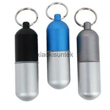 Outdoor Waterproof LARGE Aluminum Pill Box Case Bottle Holder Container Keychain