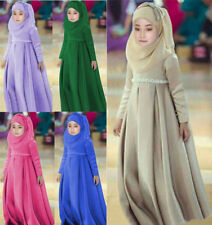 3PCS Muslim Kids Girls Dress+Headscarf+Bow Skirt Maxi Abaya Set Party Clothes