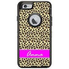 Monogram OtterBox Defender for iPhone 6 6S Plus Leopard Skin Spots Pink Name