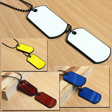 Men's Women's Army Style 2 Dog Tags Magic Pendant Beads Chain Charm Necklace