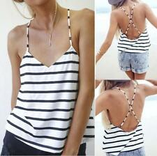 Summer Womens Striped Backless Vest Sleeveless Tee Tank Tops Casual Shirt Blouse