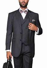 Mens Classic Fit Charcoal Gray Twill Three Piece Wool Suit