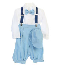 New Baby Toddler Boys Light Blue Knickers Outfit Vintage Suit Wedding Set Hat