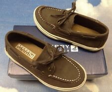Sperry Top-Sider Halyard Brown Leather Boat Shoes Kids Size 12.5 to 5