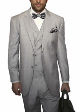 Mens Light Gray Plaid Three Piece Two Button Wool Suit