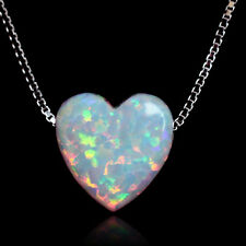 white fire opal heart pendant necklace genuine 925 sterling silver box chain new