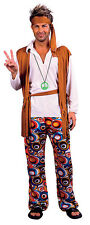 MENS ADULT 60'S 70'S HIPPY HIPPIE FESTIVAL FANCY DRESS COSTUME OUTFIT NEW M/L XL