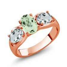 1.61 Ct Oval Green Amethyst Sky Blue Aquamarine 18K Rose Gold Plated Silver Ring