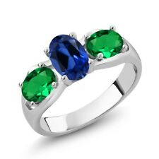 1.70 Ct Blue Simulated Sapphire Green Simulated Emerald 925 Sterling Silver Ring