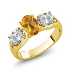 1.70 Ct Oval Checkerboard Yellow Citrine White Topaz 18K Yellow Gold Ring