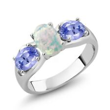 1.53 Ct Oval Cabochon White Opal Blue Tanzanite 925 Sterling Silver Ring