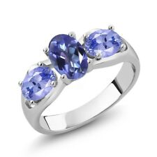 1.70 Ct Oval Purple Blue Mystic Topaz and Blue Tanzanite 18K White Gold Ring