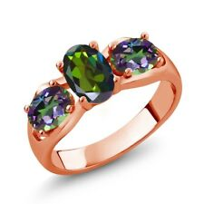 1.80 Ct Oval Forest Green Mystic Topaz and Green Mystic Topaz 18K Rose Gold Ring