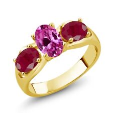2.10 Ct Oval Pink Created Sapphire Red Ruby 18K Yellow Gold Plated Silver Ring