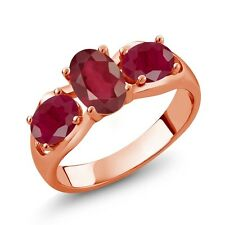 2.20 Ct Oval African Red Ruby Red Ruby 14K Rose Gold Ring