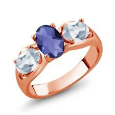 1.65 Ct Oval Checkerboard Blue Iolite Sky Blue Topaz 18K Rose Gold Ring