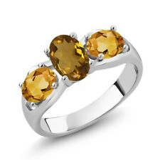 1.50 Ct Oval Whiskey Quartz Yellow Citrine 925 Sterling Silver Ring
