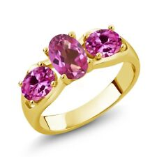 1.80 Ct Oval Pink Mystic Topaz Pink Created Sapphire 14K Yellow Gold Ring