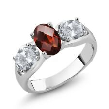 1.80 Ct Oval Checkerboard Red Garnet White Topaz 925 Sterling Silver Ring