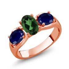 1.90 Ct Emerald Envy Mystic Topaz Blue Sapphire 18K Rose Gold Plated Silver Ring