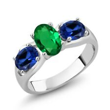 1.60 Ct Green Simulated Emerald Blue Simulated Sapphire 925 Sterling Silver Ring