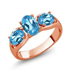 1.80 Ct Oval Swiss Blue Topaz 18K Rose Gold Plated Silver Ring