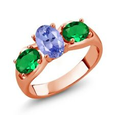 1.55 Ct Blue Tanzanite Green Simulated Emerald 18K Rose Gold Plated Silver Ring