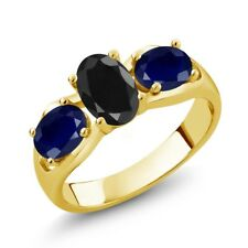 2.17 Ct Oval Black Sapphire Blue Sapphire 18K Yellow Gold Plated Silver Ring