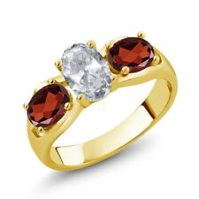 1.95 Ct Oval White Topaz Red Garnet 18K Yellow Gold Plated Silver Ring