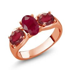 2.32 Ct Oval Red Ruby African Red Ruby 14K Rose Gold Ring