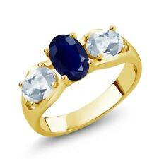 2.02 Ct Oval Blue Sapphire Sky Blue Topaz 18K Yellow Gold Plated Silver Ring