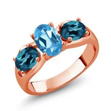 1.80 Ct Oval Swiss Blue Topaz London Blue Topaz 18K Rose Gold Plated Silver Ring